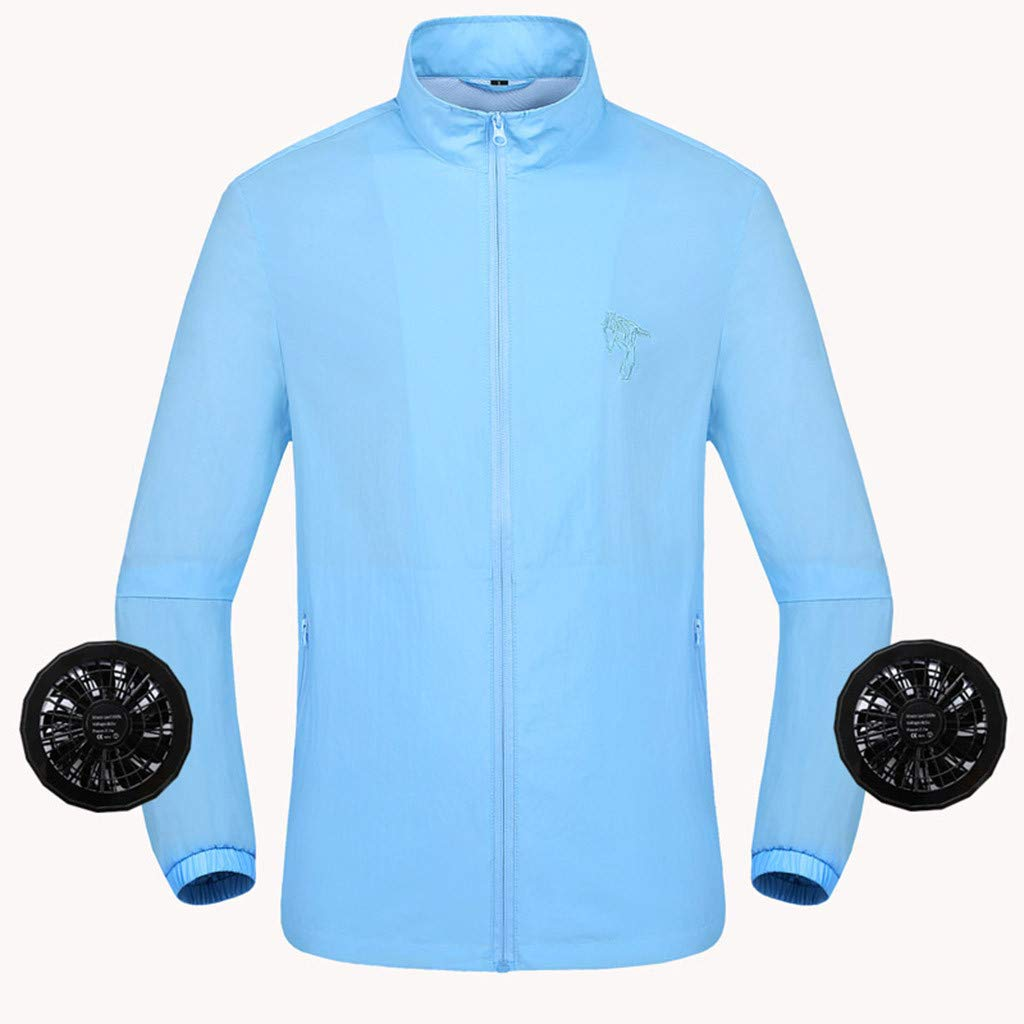 2019 UV Resistant Double Fan Jacket, Workwear Equipped Cooling Vest Fan with Battery Pack for Summer Outdoors Air-Conditioned Long Sleeve Top Unisex Available (Light Blue, XXX-Large)