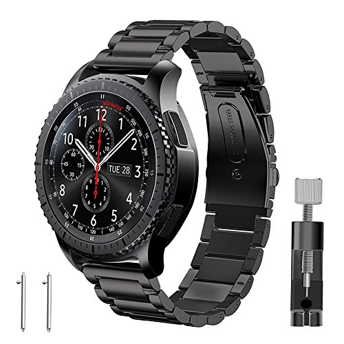 Band for Gear S3 Frontier / Classic, GHIJKL Stainless Steel Metal Replacement Bracelet Starp for Samsung Gear S3 Frontier / S3 Classic Sports Smart Watch Fitness, Metal Black Mets Rubber Bracelets