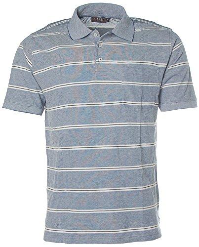 Kitaro Herren Kurzarm Shirt Poloshirt Polokragen Streifen M blau twilight