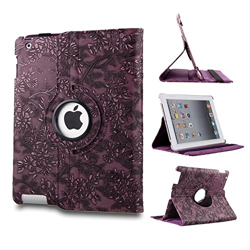 TOPCHANCES Modern Smart Cover Case for iPad 2 3 4 with Auto Sleep/Wake Function and 360 Degree Rotating Stand- (Purple Emblossed Flower) (Wake Flowers)