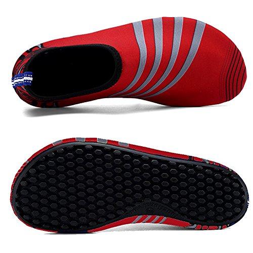 Vivay Herren Damen Barfuß Wasser Schuhe Quick-Dry Outdoor Aqua Socken für Beach Swim Surf Yoga Übung B. Rot