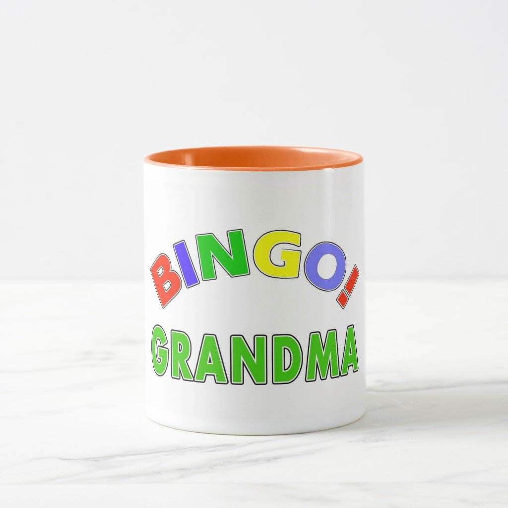 Zazzle Bingo Grandma Travel Mug, Orange Combo Mug 11 oz