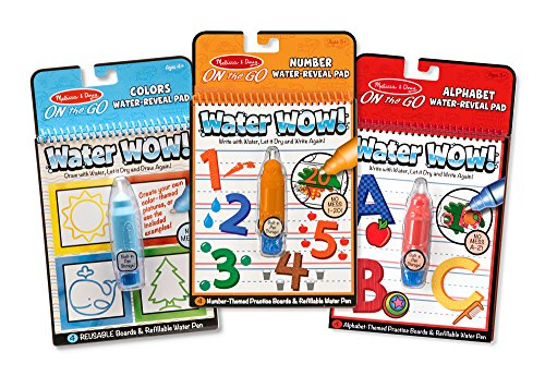 Melissa & Doug On the Go Water Wow! Reusable Water-Reveal Activity Pads,3-pk, Colors, Numbers, ()