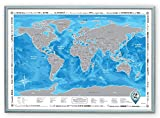 "Framed Discovery Map World - Framed World Map with Scratch off & Detailed Travel Content. Wooden Stylish Blue Frame. Large Size 26""x36.2"". Blue Map with Silver Scratch. ORIGINAL. (Map in Blue Frame)"