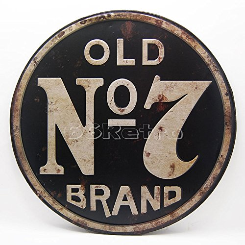Old No.7, Jack Daniel's, Embossed Round Metal Tin Sign, Wall Decorative Sign, Dia 15