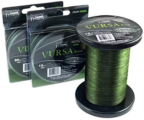 Fitzgerald Vursa Braided Fishing Line – The 8 Strand, Longer Casting, Fade Resistant Freshwater and Saltwater Fishing Line – Green