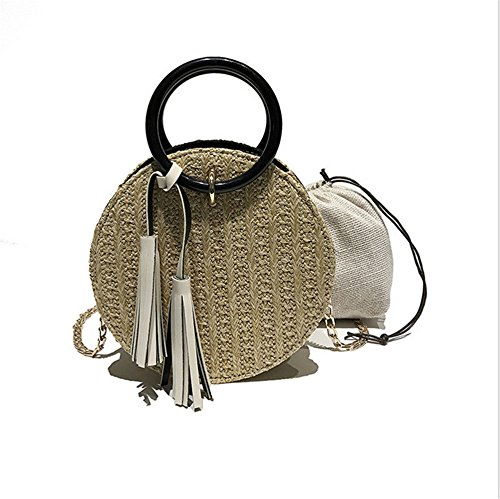 Round Circular Rattan Wicker Straw Woven Crossbody Beach Bag Basket Gift Beige