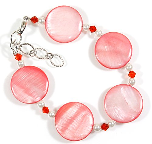 Swarovski Coral Peach Crystal Earrings - Style-ARThouse Coral Islands Coral Color Mother-of-Pearl Bracelet; 7-8 Inches Adjustable