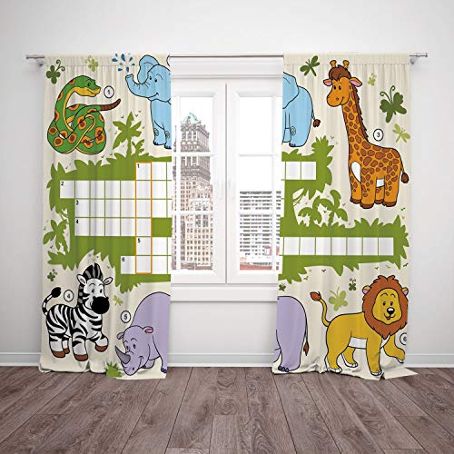 2 Panel Set Satin Window Drapes Kitchen Curtains,Word Search Puzzle Colorful Crossword Game for Children Wild Jungle Safari Animals Grid Decorative Multicolor,for Bedroom Living Room Dorm Kitchen -