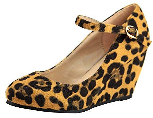 Cambridge Utvalda Womens Stängda Rund Tå Mary Jane Spänne Ankelbandet Plattform Kil Leopard Imsu