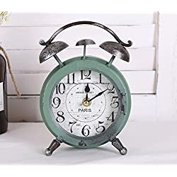 COL DOM European retro style to do the old iron clock personality fashion desktop Decoration Block clock sales hot 14x5.5x20cm (Green)