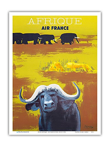 Africa (Afrique) - Air France - African Wildlife - Vintage Airline Travel Poster by Paul Colin c.1956 - Master Art Print - 9in x 12in