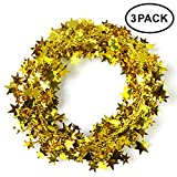 Neo LOONS 25 Ft Star Garland Tinsel Star Brace Wire Garland for Christmas Tree Decor Ornaments Party Accessory Decorations, 3 Pack (Gold)