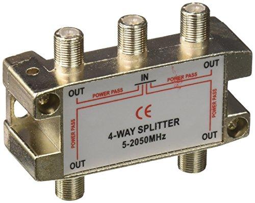 Morris 45054 4 Way Splitters with Ground Block Satellite, 5-2050 MHz - 2050 Mhz 4 Way Splitter