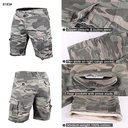 Muscle Alive Hommes Shorts Cargo Camping Randonnée Coupe Slim Camouflage Ancien 100% Coton 4