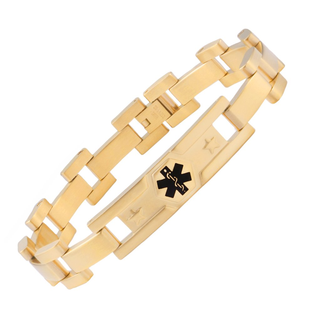 LinnaLove The Marines style Gold medical id bracelet jewelry for men and women(GD-775)