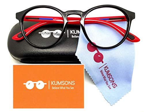 """KUMSONS Premium Round Blue Ray Cut UV440″ZERO Power"""" Spectacles with Antiglare Glasses For Mobile Laptop Computer Gaming Screen Protection (Medium)(RED)"""
