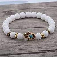 Meenanoom Charm Women Gold Hamsa Hand of Fatima White Lava Stone Beads Man Lucky Bracelets