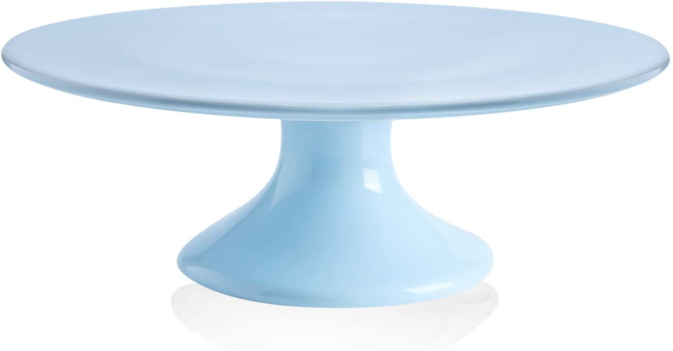 Kanwone 10-Inch Porcelain Round Cake Stand, Cake Plate, Dessert Stand, Cupcake Stand for Parties, Home Decorating Stand, Blue