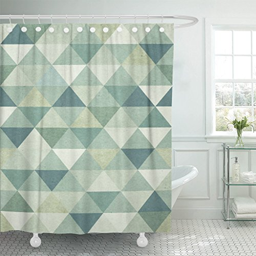 Emvency Shower Curtain Green Vintage Geometric Pattern on Blue Geometry Wool Abstract Waterproof Polyester Fabric 72 x 78 Inches Set with Hooks