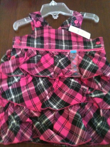 The Children's Place Baby Girls Pink and Black Plaid Jumper Dress Size 6-9 Months ; 15-18 Pounds