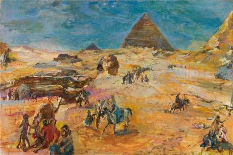 [The Perfect Effect Canvas Of Oil Painting 'Oskar Kokoschka,Pyramids At Gizeh,1929' ,size: 30x45 Inch / 76x114 Cm ,this High Definition Art Decorative Prints On Canvas Is Fit For Basement Decoration And Home Artwork And] (Debbie Harry Wig Costume)