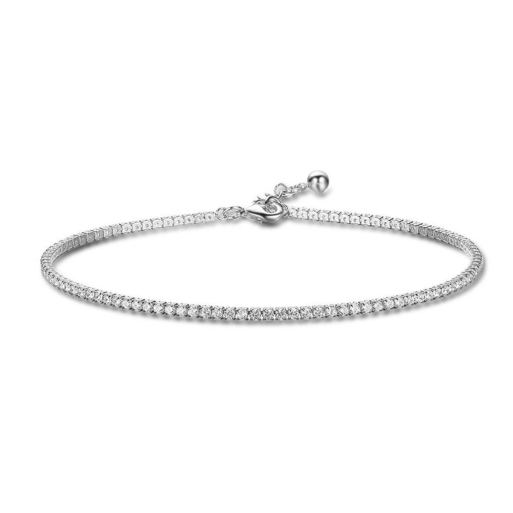 Richapex Women's Platinum Plated Silver Adjustable Cubic Zirconia Slider Tennis Anklets (Silver)