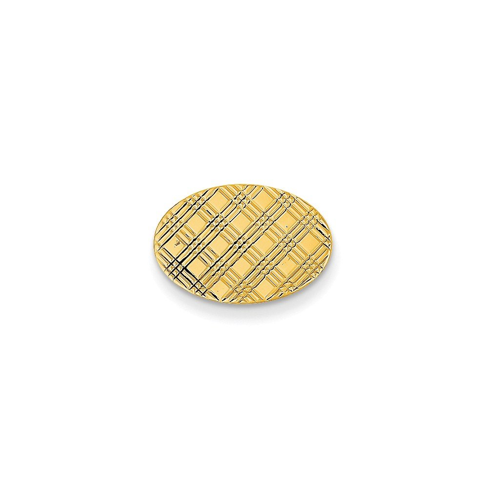 14k Yellow Gold Oval-Shaped Tie Tac with Criscross Design
