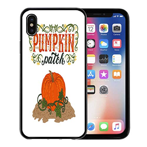 Semtomn Phone Case for Apple iPhone Xs case,Text Pumpkin Patch Halloween Hand Lettering and Sign Vintage Farm Fresh Advertise for iPhone X Case,Rubber Border Protective Case,Black