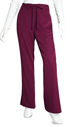 f72bfb9fc65 Grey's Anatomy Women's Junior Fit 4-Pocket Elastic Back Scrub Pants (Wine, X