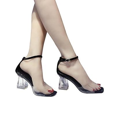 9e008d22ecc Women Summer Sandals HEHEM Fashion Women Transparent Sandals Ankle High Heels  Block Party Open Toe Shoes Wedge Sandals Silver Sandals Womens Shoes Ladies  ...