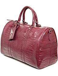 Travel Tote - Overnighter bag Flight Bag All Purpose Duffle, Runway Burgundy Croc