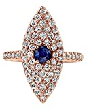 Round Cut Simulated Blue Sapphire & White CZ Evil Eye Ring in 10K Solid Gold