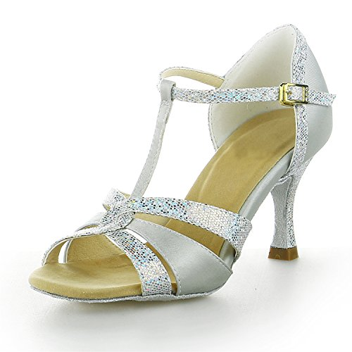 Jia Jia 20519 Damen Sandalen Ausgestelltes Heel Super-Satin Latein Tanzschuhe Silber