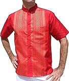 Raan Pah Muang Short Sleeve Formal Chinese Woven Motif Silk Shirt, Medium, Red For Sale