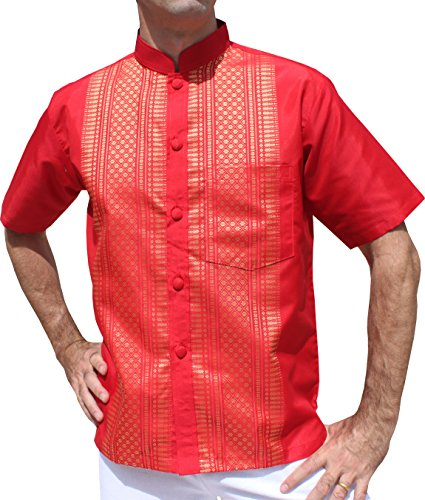 Raan Pah Muang Short Sleeve Formal Chinese Woven Motif Silk Shirt, Medium, Red For Sale