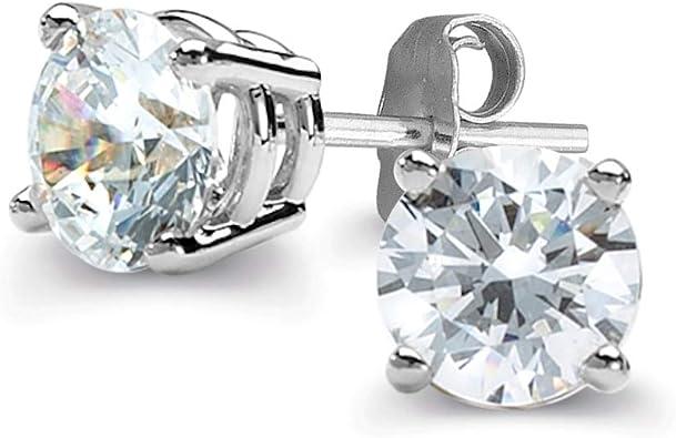 NEW MENS LADIES WHITE GOLD FINISH 4 MM 4 PRONG DIAMOND STUD EARRINGS