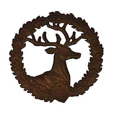 Cast Iron Trivet, Bestplus Tablemat Potholder with Rubber Legs Vintage Sika Deer Shape for Kitchen or Dining Table Decor Round TF004