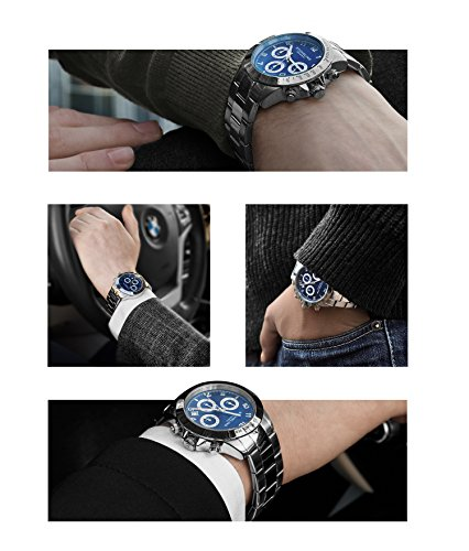 Blue Quartz Chronograph Mens Watch by Stuhrling Original. Solid Stainless Steel Watch Bracelet Watch Band Deployant Clasp. 50 Meter Water Resistant. Stylish gift watches for men. by Stuhrling Original (Image #3)