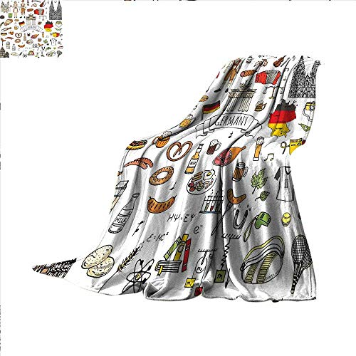 German Digital Printing Blanket Hand Drawn Doodle of German Culture Icons Football Jersey Food Science and Music Summer Quilt Comforter 62