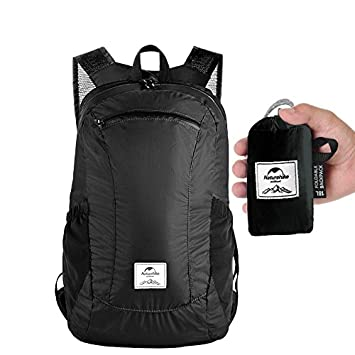 Folding Backpack 2018 New Lightweight Packable Water Resistant Fodable Travel Backpack Compact for Hiking Camping Cycling Excercise Crossfit Pilate Swimming for Men Women Students 18L (Night Black)