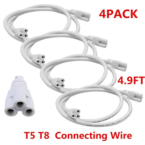 T5 T8 LED Double End 3Pin Lamp Connecting Wire Ceiling Lights Daylight LED Integrated Tube Cable Linkable Cords for LED Tube Lamp Holder Socket Fittings with Cables White Color,( 4.9FT / 1.5M ).4-PACK (Ceiling Tube)