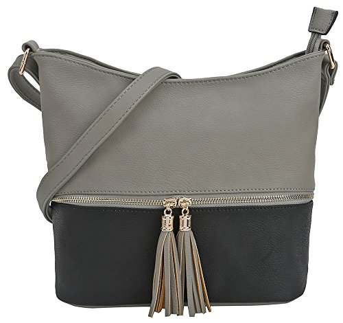 (DELUXITY Medium Size Hobo Crossbody Bag with Tassel/Zipper Accent (Gray/Black))