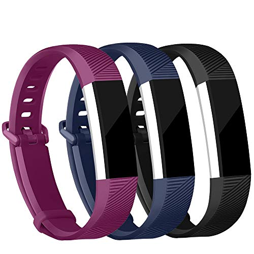 iGK Replacement Bands Compatible for Fitbit Alta and Fitbit Alta HR, Newest Adjustable Sport Strap Smartwatch Fitness Wristbands Black Navy Plum Small (Plum Navy)
