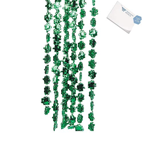 Bargain World Metallic Beaded Shamrock Necklaces (With Sticky Notes) ()