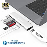 USB C Thunderbolt 3 HDMI Hub MacBook Pro,Belker 7 in 1 40Gb/s Thunderbolt 3 USB-C HDMI Hub Adapter HDMI,2 x USB 3.0, microSD, SD, Thunderbolt 3,USB-C(Sliver)