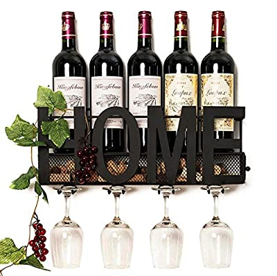 Wall Mounted Metal Wine Rack 4 Long Stem Glass holder & Wine Cork Storage By Soduku