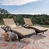 Cheap Olivia Patio Furniture ~ Outdoor Wicker Chaise Lounge Chair with Arms w/ Water Resistant Cushions (Set of 2) (Grey with Caramel)