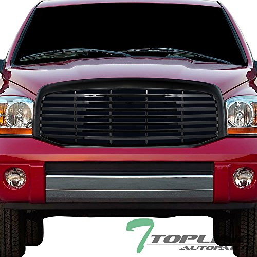 Topline Autopart Black Horizontal Front Hood Bumper Grill Grille ABS For 06-08 Dodge Ram 1500 ; 06-09 2500 / 3500 (Inserts Ram Dodge Grille)