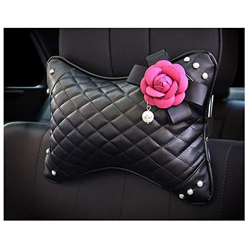 (Siyibb 1 Pc Leather Car Headrest Neck Cushion Pillow Support with Cute Pearl Camellia Flower Decor - Rose red)